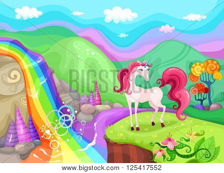 vector illustration with a beautiful magic unicorn