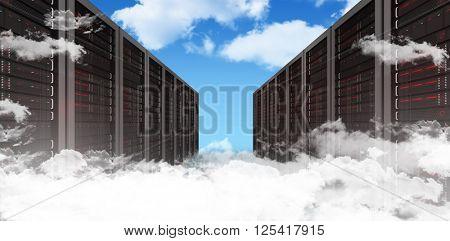 Server hallway against blue sky