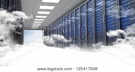 Server hallway against bright blue sky with clouds