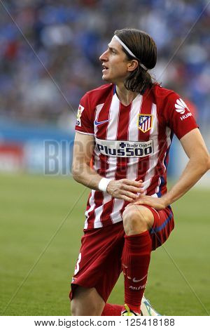 BARCELONA - APRIL, 9: Filipe Luis Kasmirski of Atletico Madrid during a Spanish League match against RCD Espanyol at the Power8 stadium on April 9, 2016 in Barcelona, Spain
