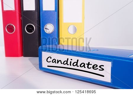 Word candidates underlined against business desk with documents