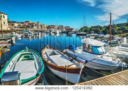 Stintino old harbor on a clear spring day Italy