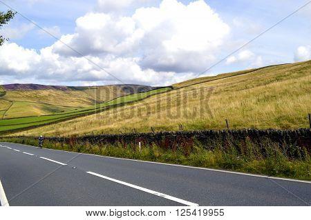 A cyclist in Glossop Derbyshire England UK
