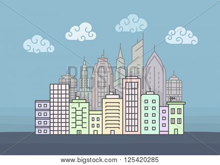 City skyline at morning. Town buildings vector illustration