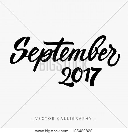 Black calligraphic September twenty seventeen  inscription on white background