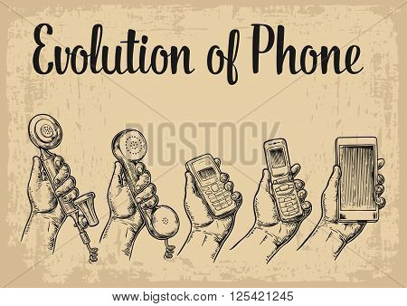 Evolution of communication devices from classic phone to modern mobile phone with hand man. Vintage vector engraving illustration for info graphic poster web