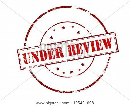 Rubber stamp with text under review inside vector illustration