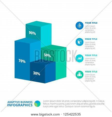 Editable infographic template of vertical bar chart with four 3d columns, percent marks, icons, titles and sample text