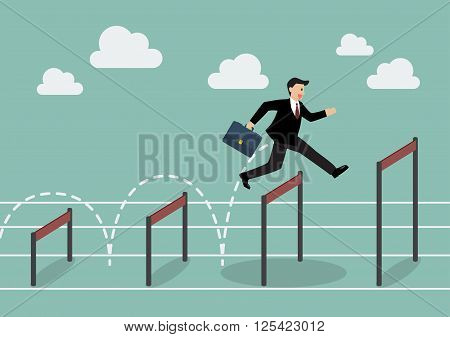 Businessman jumping higher over hurdle. Business concept
