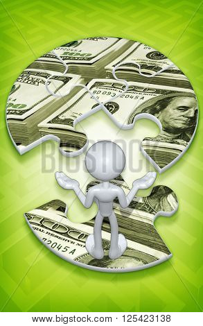 Money Puzzle 3D Illustration