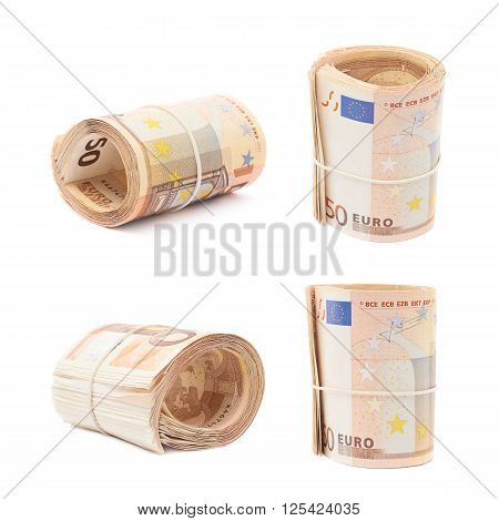 Stack of fifty euro bank notes bend in a form of tube, composition isolated over the white background, set of four different foreshortenings