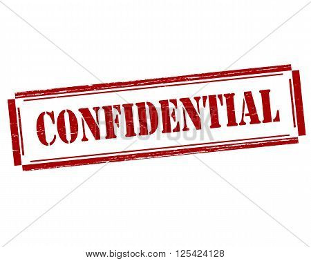 Rubber stamp with word confidential inside vector illustration