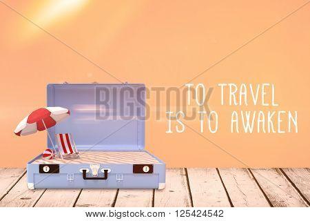 Travel slogan against orange background