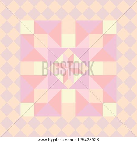 Vector seamless pattern in patchwork style. Abstract colorful background with geometrical pattern rustic style.