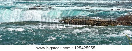 Niagara river and wildlife.  Seagulls gather on the rock island that is closest to the Falls.  Some flying in to land as the roar of water continues unabated
