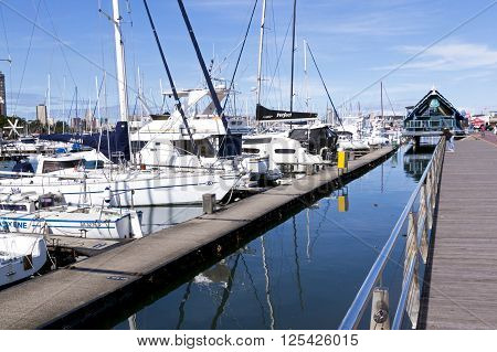 Wooden Walkway And Yachts In Durban South Africa