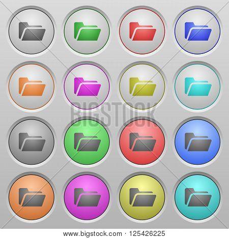 Set of Folder open plastic sunk spherical buttons.