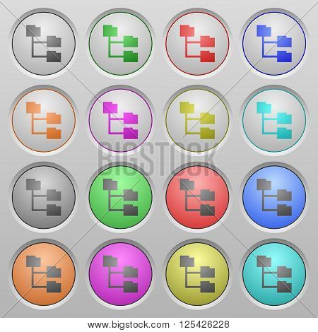 Set of Folder structure plastic sunk spherical buttons.