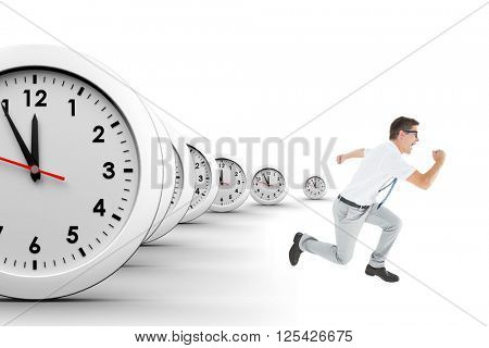 Geeky businessman running mid air on a white background with clocks
