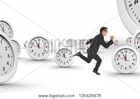 Geeky happy businessman running mid air on a white background with clocks