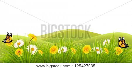 Spring background with grass, flowers and butterflies. Vector.