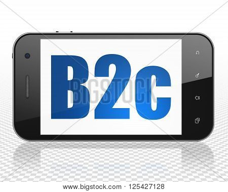 Business concept: Smartphone with B2c on display