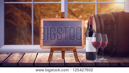 Red wine against autumn scene
