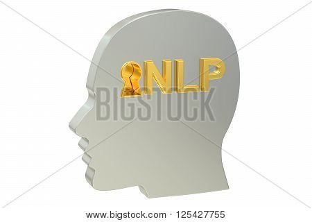 Neuro-linguistic programming NLP concept 3D rendering on white