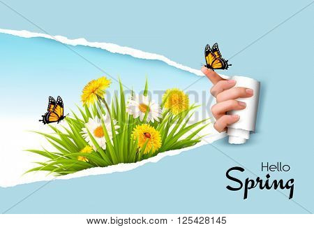 Ripped by hand paper background, revealing spring flowers and butterflies.