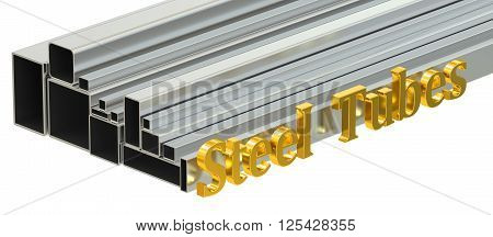 steel tubes concept rolled metal. 3D rendering