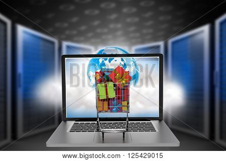 Trolley full of gifts on laptop against a large room where are standing the servers