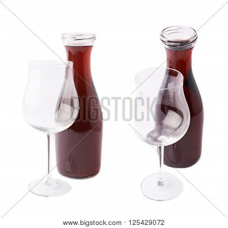 No label red wine bottle behind the empty wine glass, composition isolated over the white background, set of two different foreshortenings