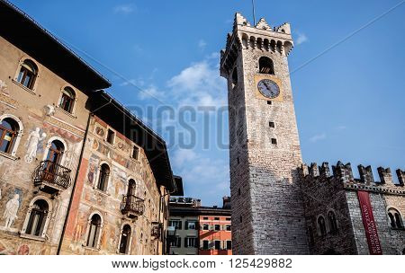 View of bell tower in Piazza Duomo. Trento Italy.