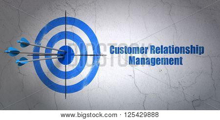 Advertising concept: target and Customer Relationship Management on wall background
