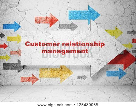 Marketing concept: arrow with Customer Relationship Management on grunge wall background