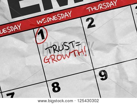Concept image of a Calendar with the text: Trust = Growth