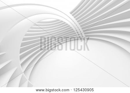 White Architecture Circular Background. Abstract Building Design. 3d Modern Render