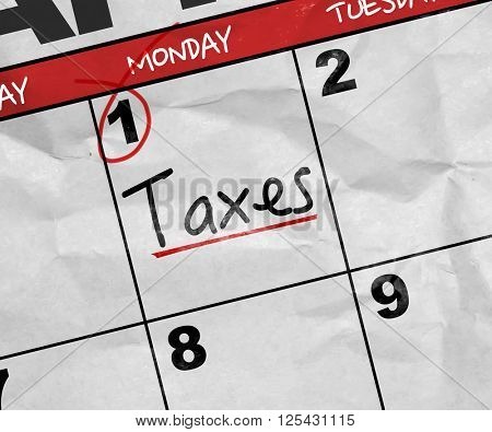 Concept image of a Calendar with the text: Taxes
