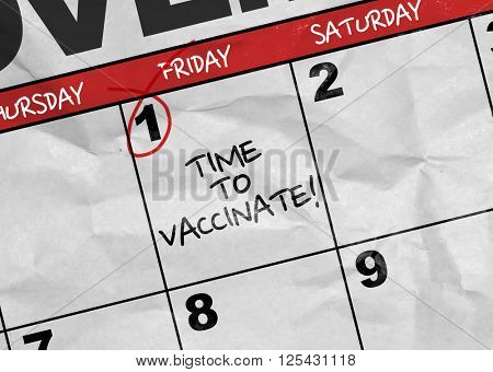 Concept image of a Calendar with the text: Time to Vaccinate