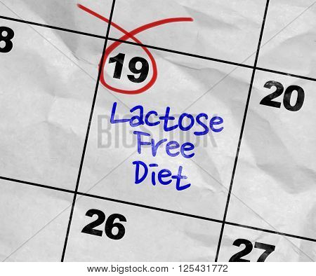Concept image of a Calendar with the text: Lactose Free Diet