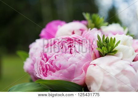 Wedding bouquet. Bride's traditional symbolic accessory. Floral composition with pink peony flowers.