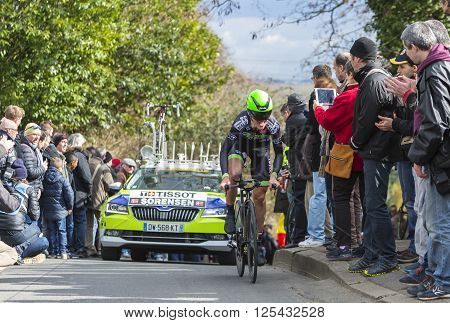 Conflans-Sainte-Honorine,France-March 6, 2016: The Danish cyclist Chris Anker Sorensen of Fortuneo-Vital Concept Team riding during the prologue stage of Paris-Nice 2016.