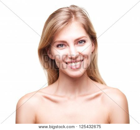 Beautiful face of young blond smiling woman with clean fresh skin isolated over white