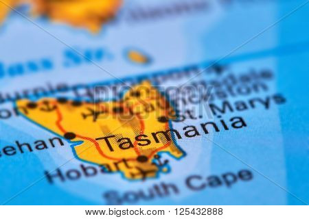 Tasmania Island, Australia On The Map