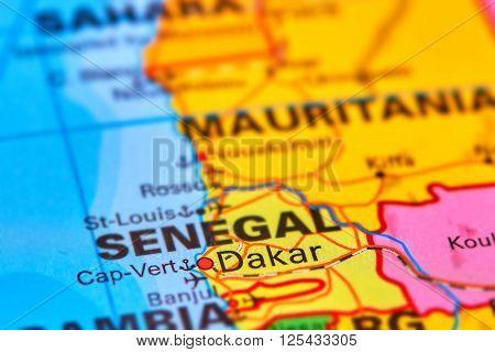 Dakar City In Senegal On The Map