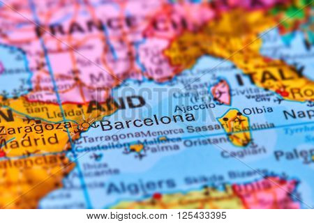 Barcelona City In Spain On The Map