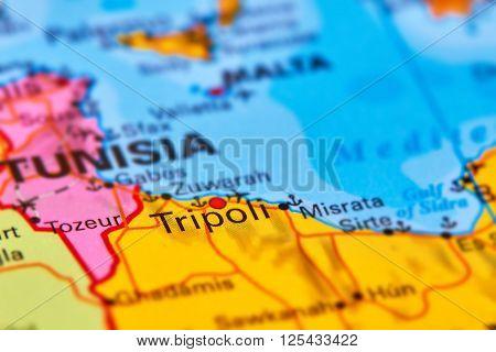 Tripoli, Capital City Of Libya On The Map