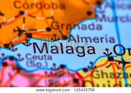 Malaga, City In Spain On The Map
