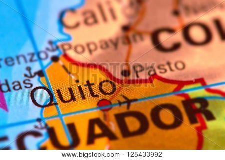 Quito, Capital City Of Ecuador On The Map