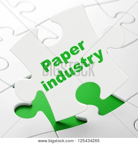 Manufacuring concept: Paper Industry on puzzle background
